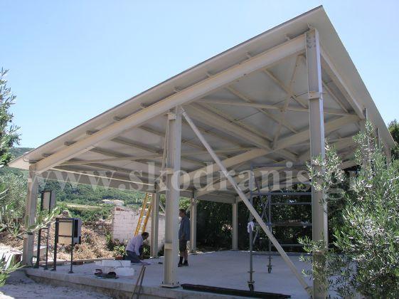 Βάση φωτοβολταικών - αποθηκευτικός χώρος 100 m2 (Ριζά Χαλκιδικής) Σκελετός  μεταλλικός - επένδυση με πάνελς. de6d329eed7